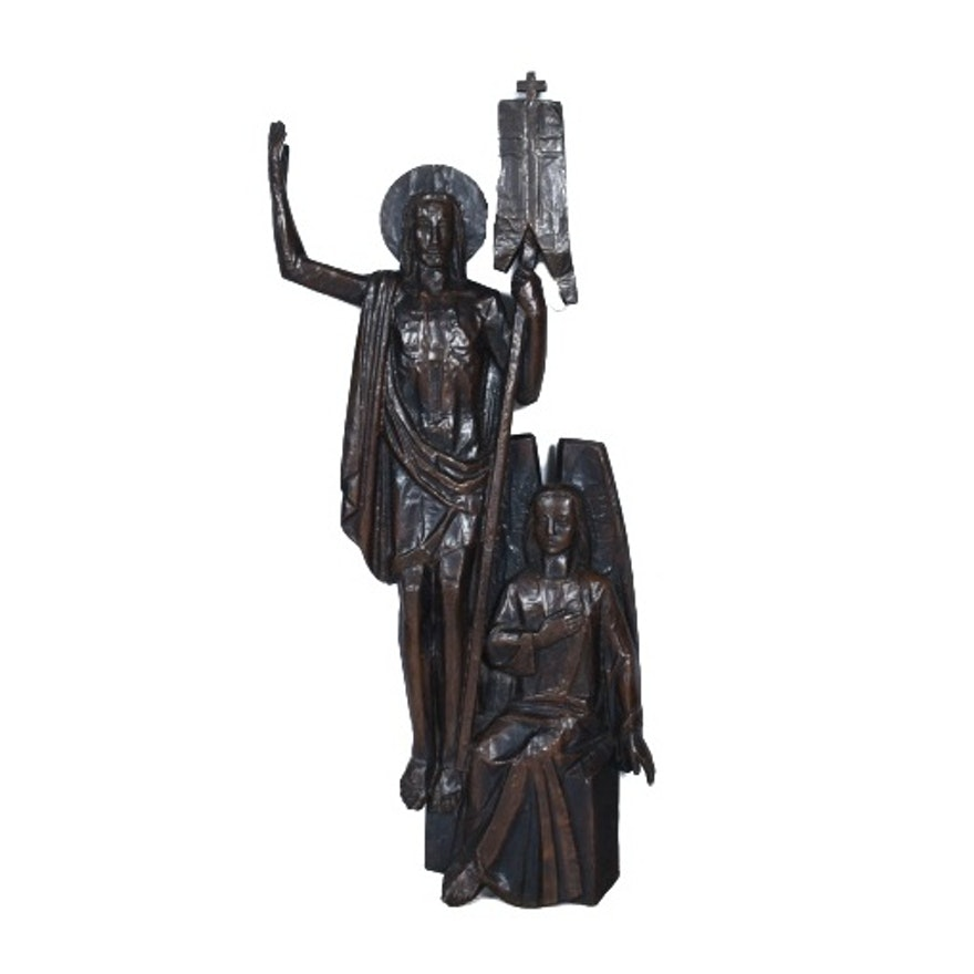 Copper Clad Wood Carving of Christ and John the Baptist