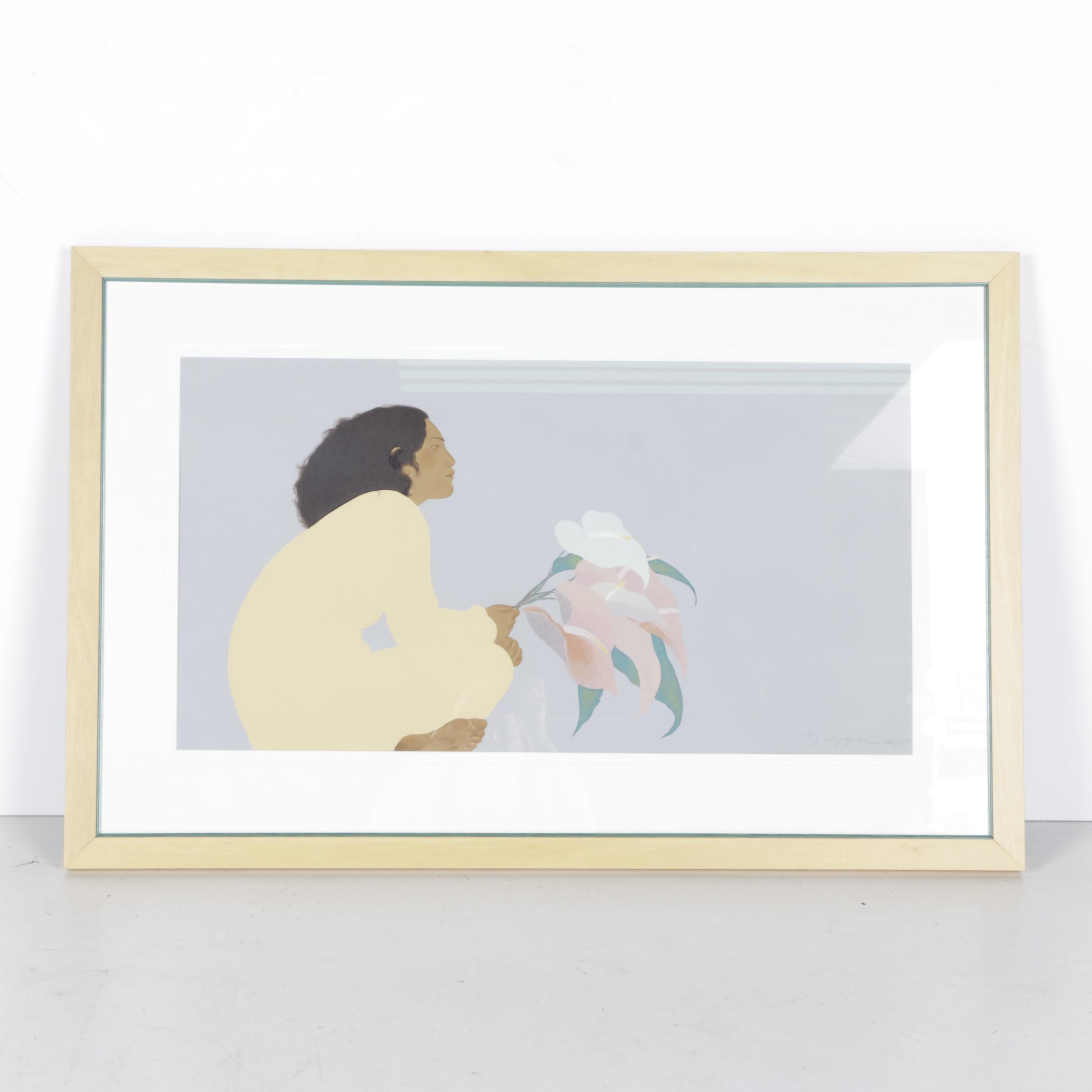 "Pegge Hopper Limited Edition Serigraph ""Untitled (Woman With Anthuriums)"""