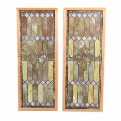 Pair of Stained Glass Panels