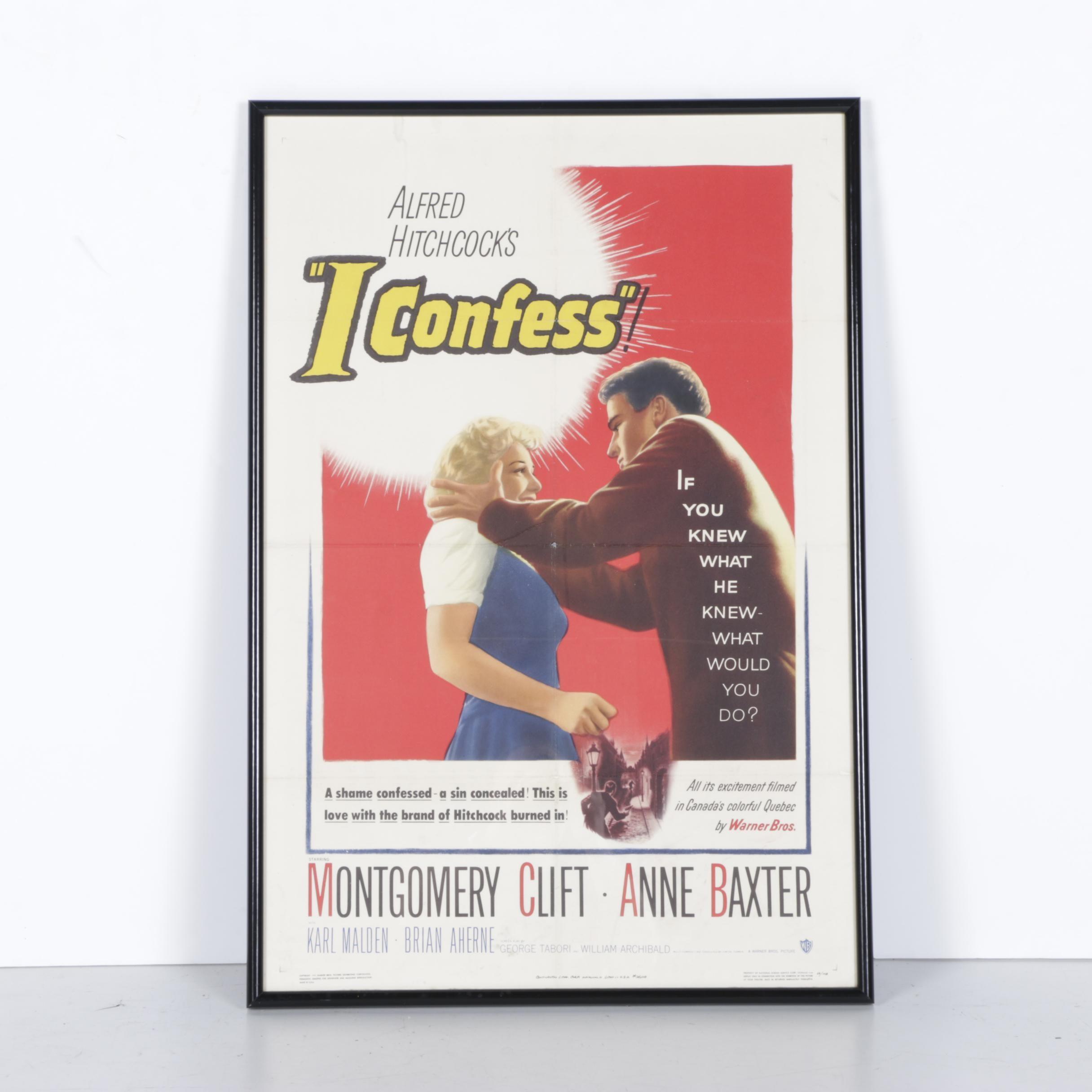 "Alfred Hitchcock ""I Confess"" Framed Movie Poster"
