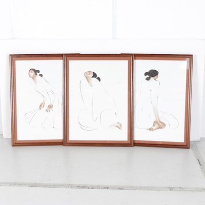 "R.C. Gorman Limited Edition Lithograph Triptych ""Trilogy"""