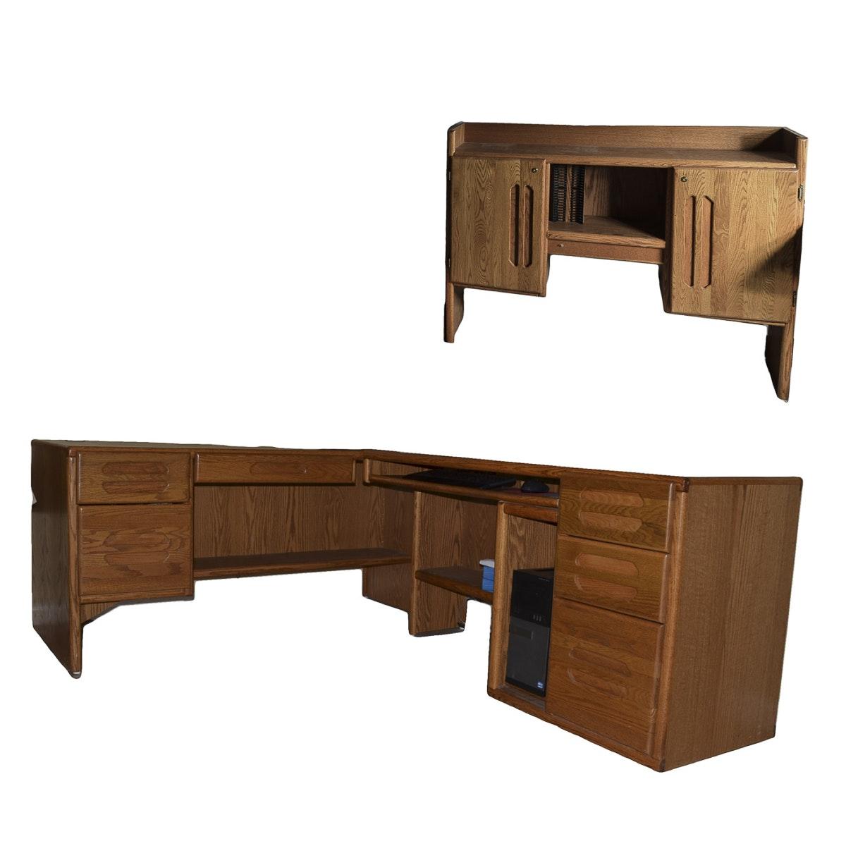 Two-Piece Oak Desk Set with Hutch