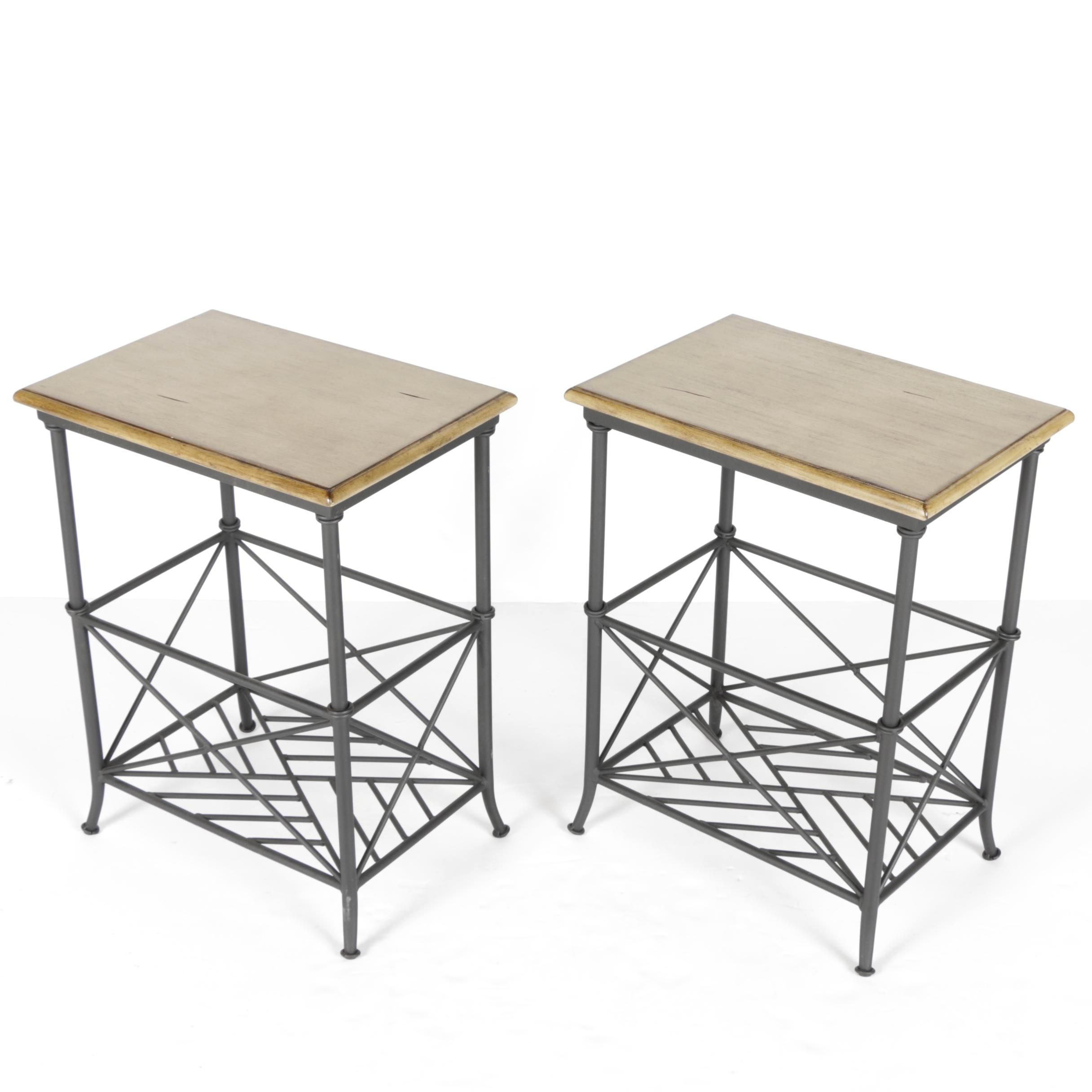 Pair of Wooden-Topped End Tables by Ballard Designs