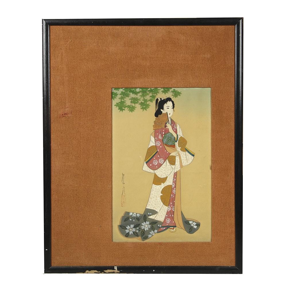 Japanese Fabric Artwork on Mat Frame