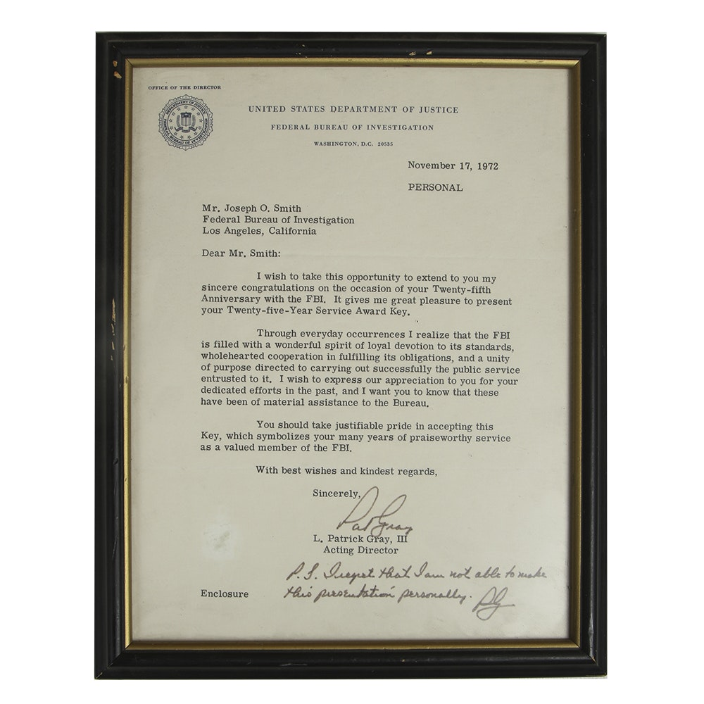 Framed 1972 Letter from Acting FBI Director and 25th Anniversary 10K Service Award Key