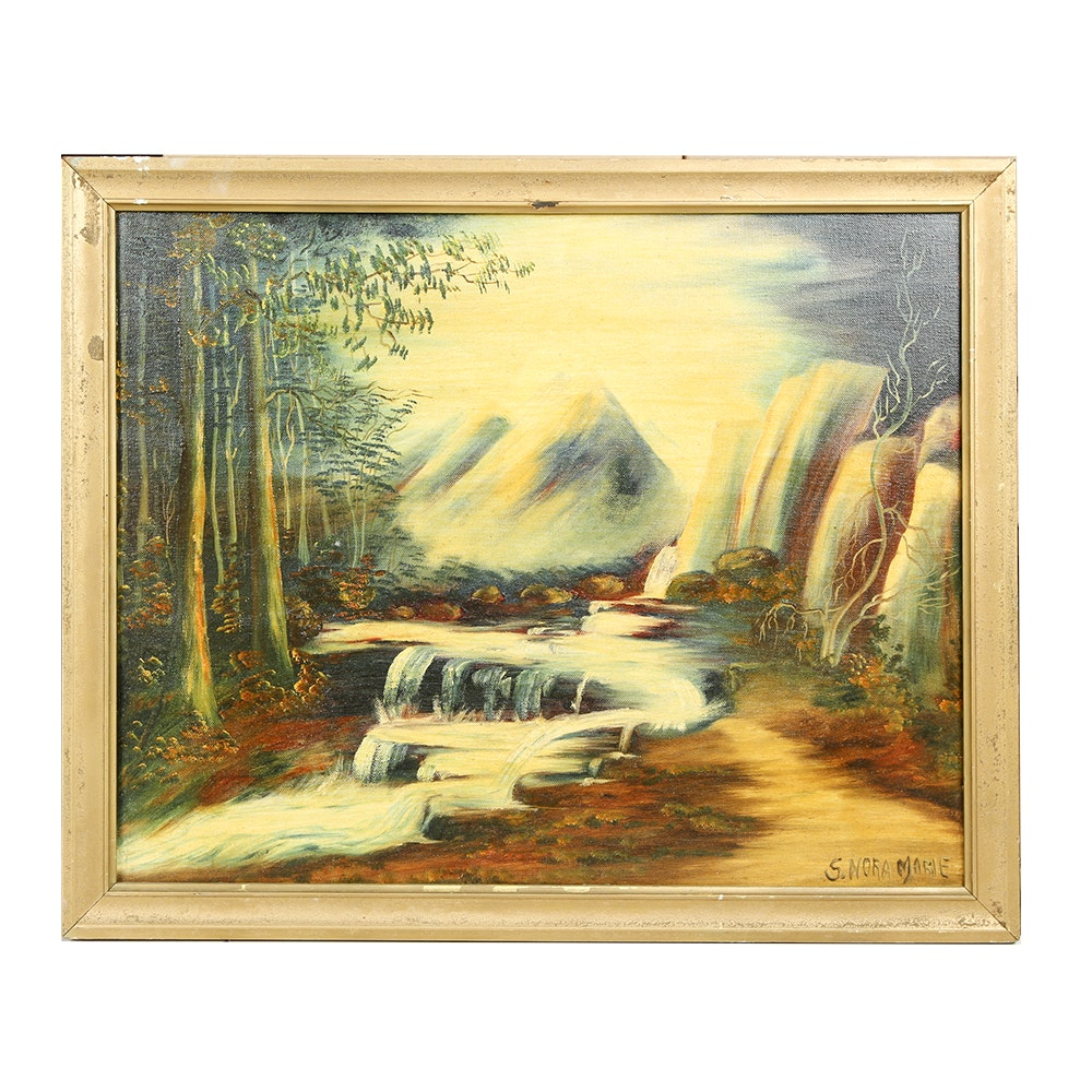 S. Nora Marie Oil Painting on Canvas of a Forest Landscape