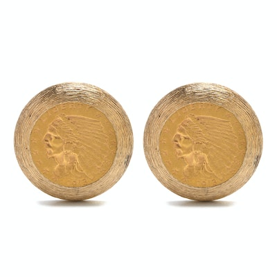 1913 Indian Head 23K Yellow Gold Coin Cufflinks in 14K Setting