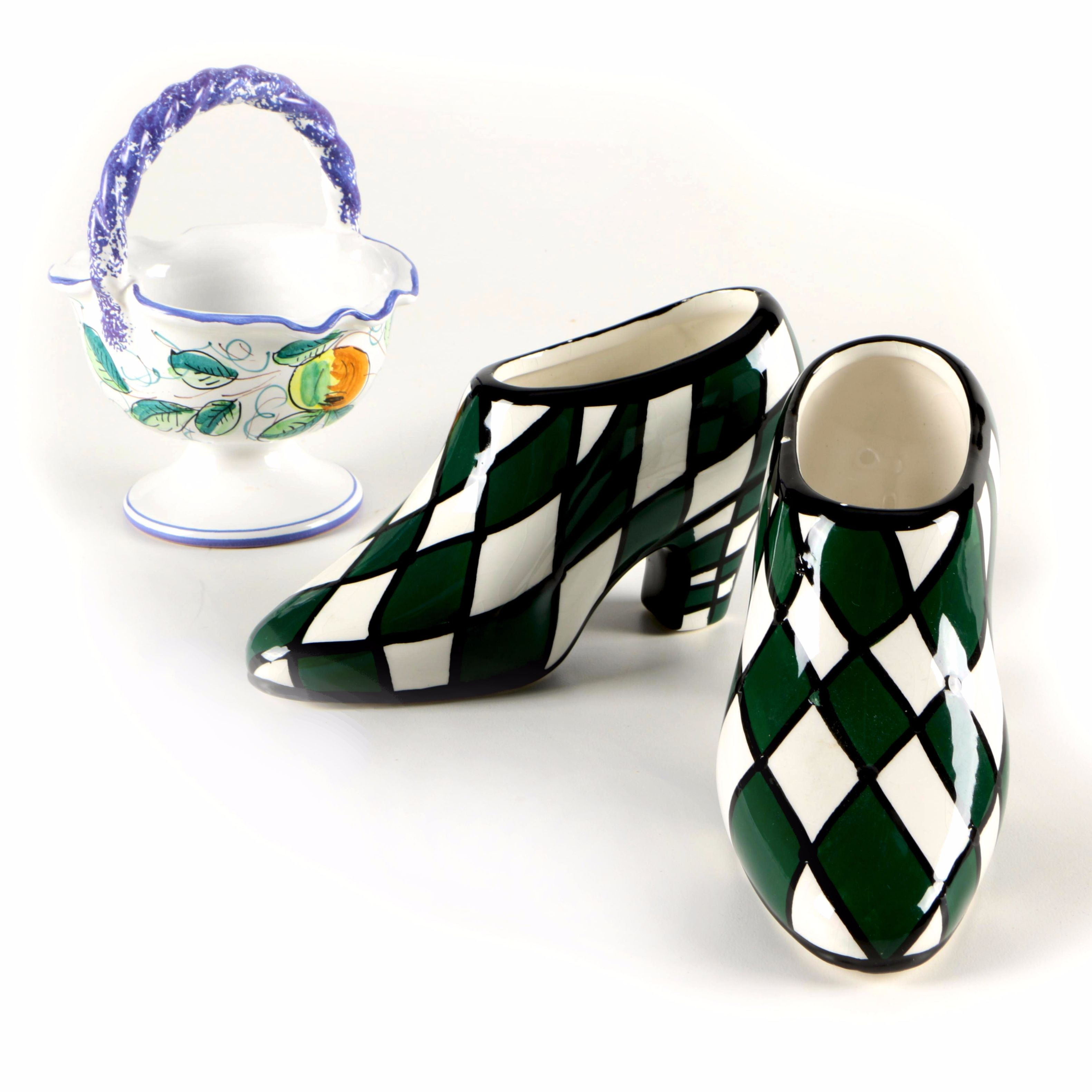 Italian Hand-Painted Ceramic Basket and Pair of Ceramic Shoes