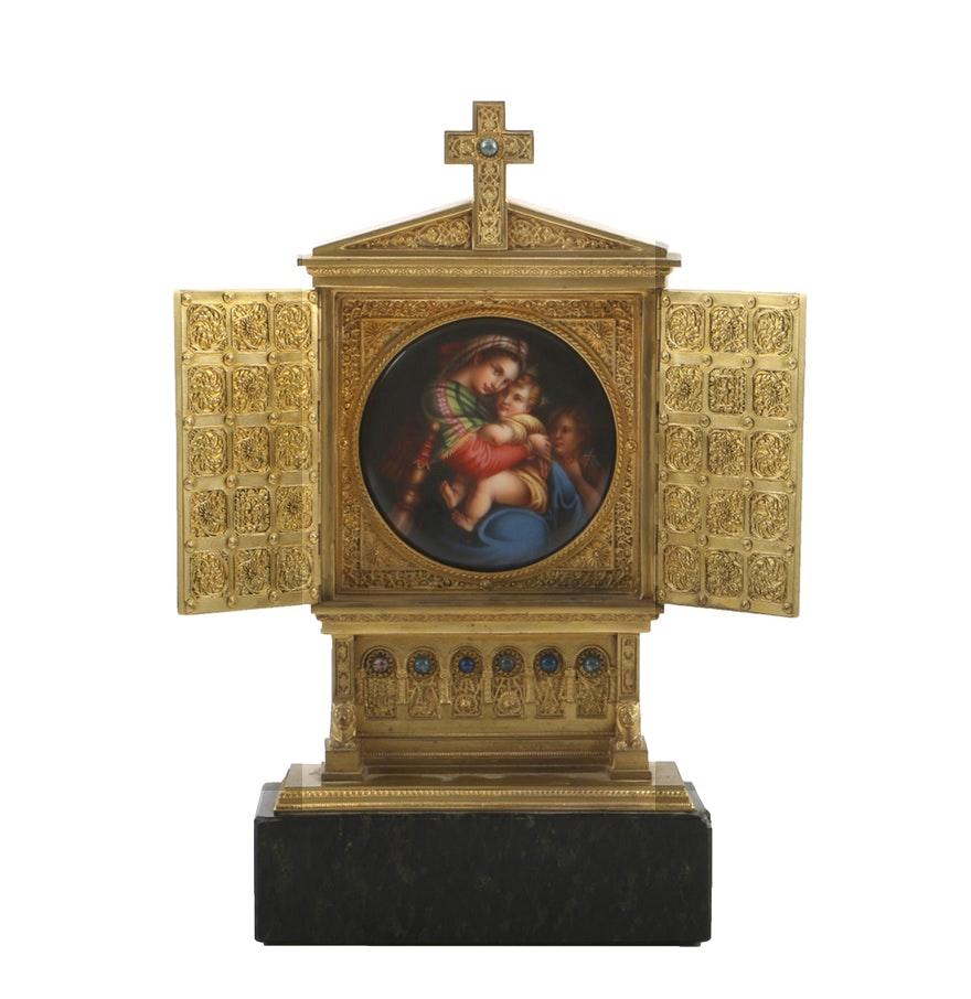 Antique Cast Brass Shrine with Porcelain Madonna and Child Plaque