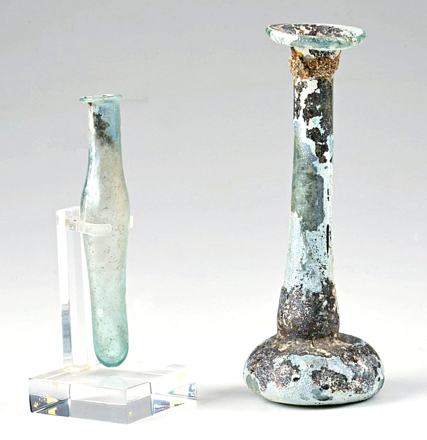 Circa 320 C.E. Roman Glass Perfume Bottle and Small Vial on Stand