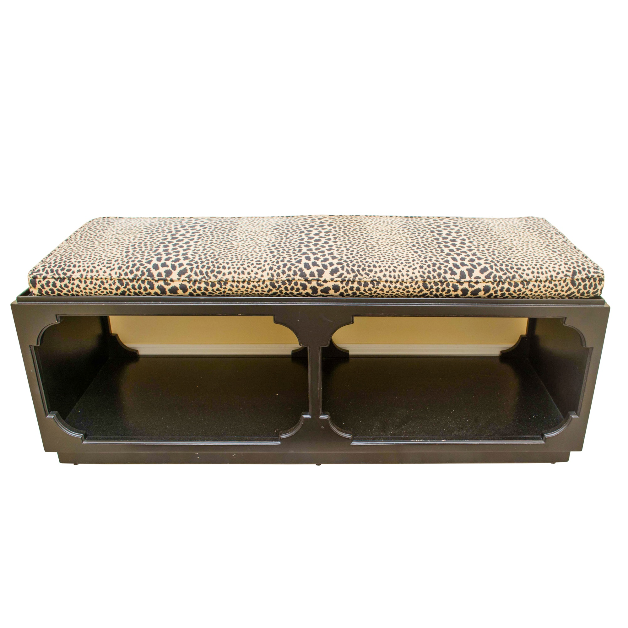 Black Lacquered Bench with Leopard Print Cushion