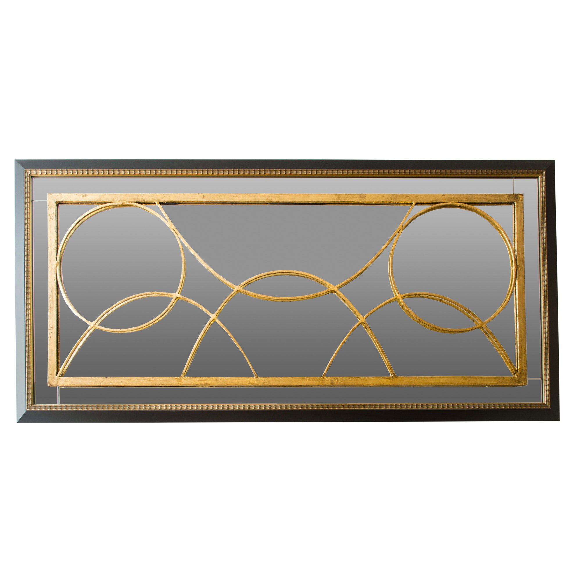 Contemporary Black and Gold Tone Geometric Frame Wall Mirror