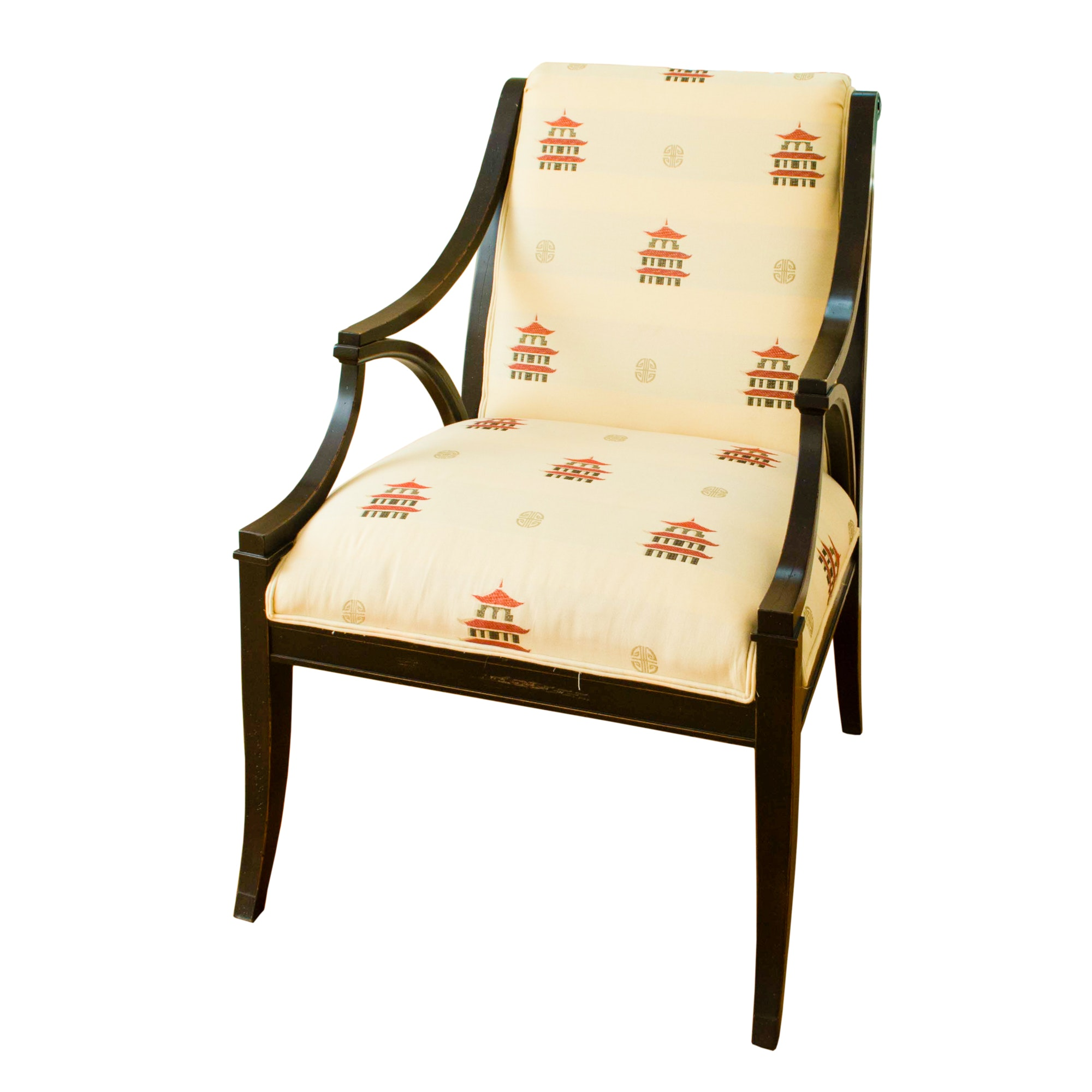 Black Lacquered Upholstered Arm Chair