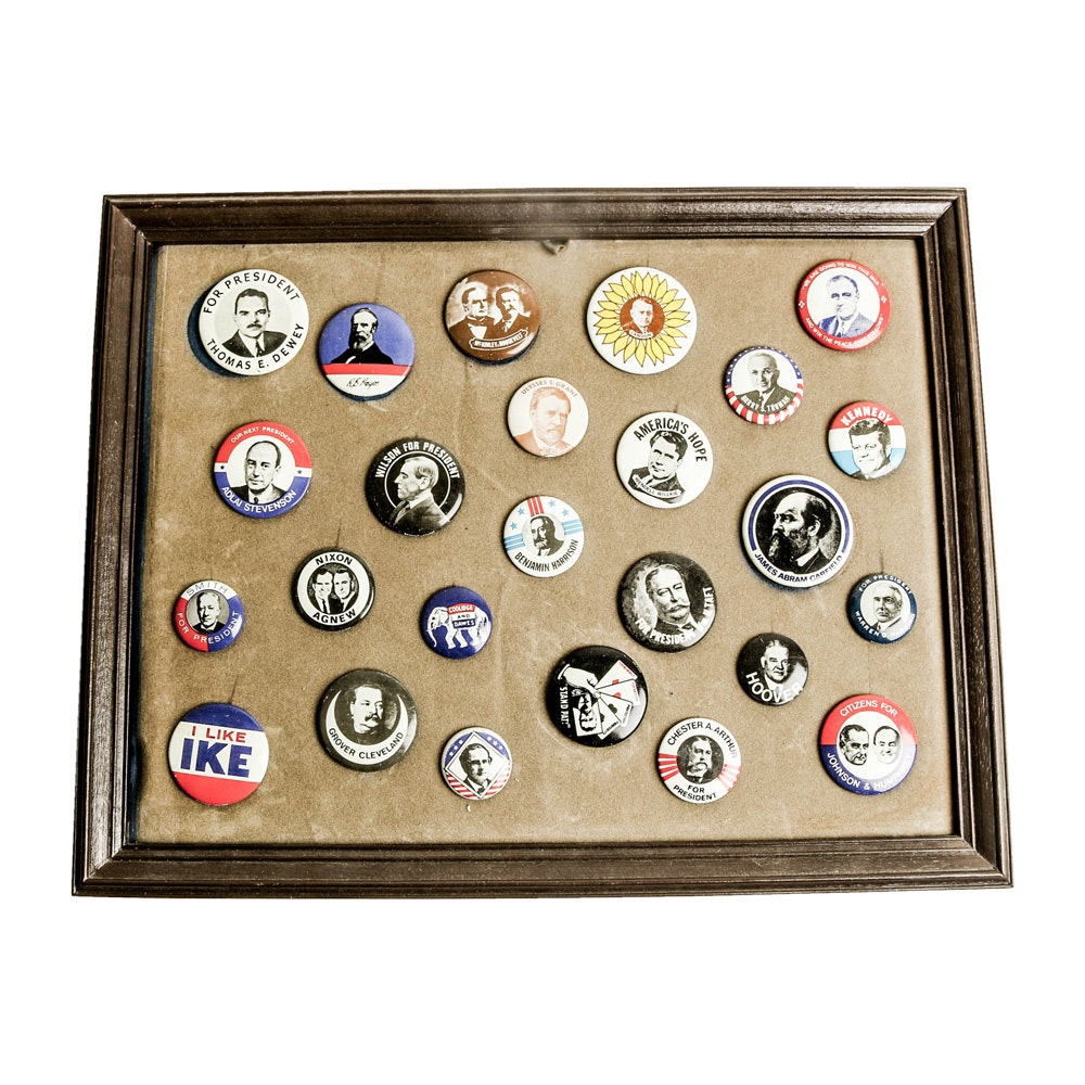 Replica Political Campaign Button Collection with Frame