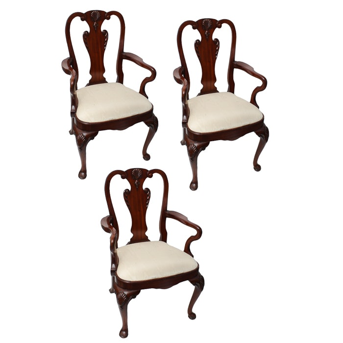 Three Queen Anne Style Arm Chairs
