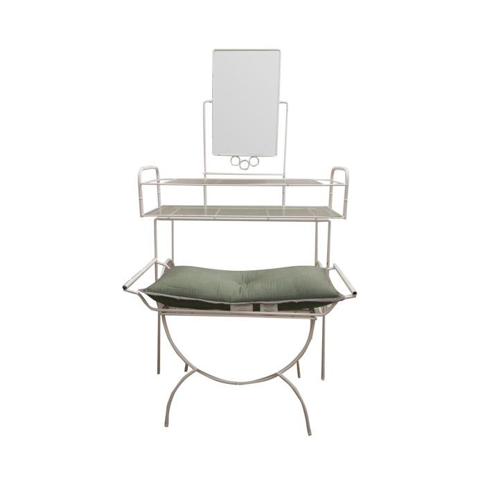 white metal vanity set. white metal vanity set  vintage with bench s White Metal Vanity Set Makeup Black Silver