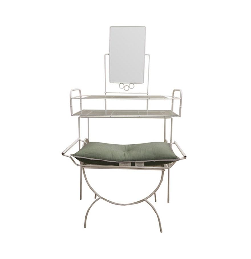 Vintage White Metal Vanity Set With Bench  Vintage White Metal Vanity Set With Bench   EBTH. White Metal Vanity Set. Home Design Ideas