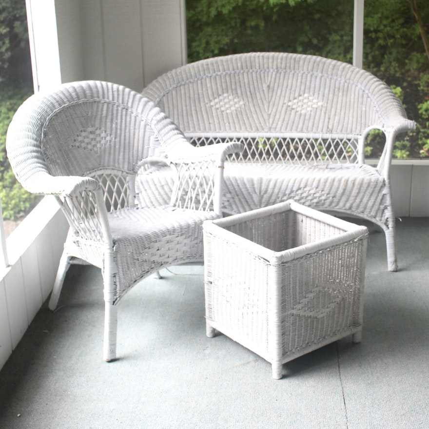 White Wicker Patio Furniture With Loveseat Chair And Planter Ebth