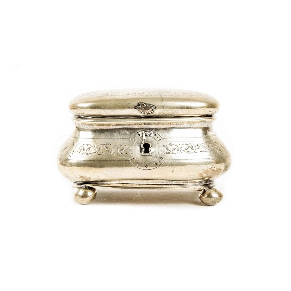 Vintage 800 Silver Etched Trinket Box