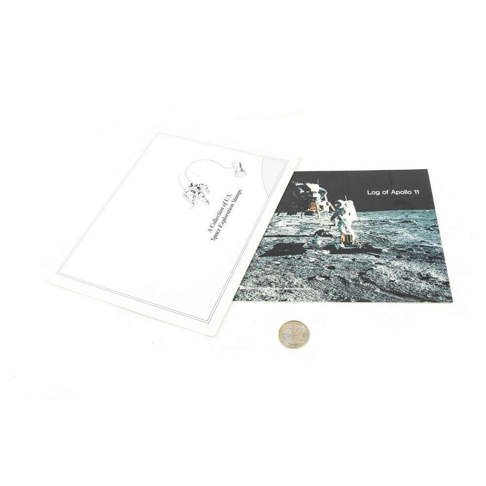 Vintage Commemorative Medallion from Apollo 11 First Moon Landing, Log Book and U.S Postage Stamps