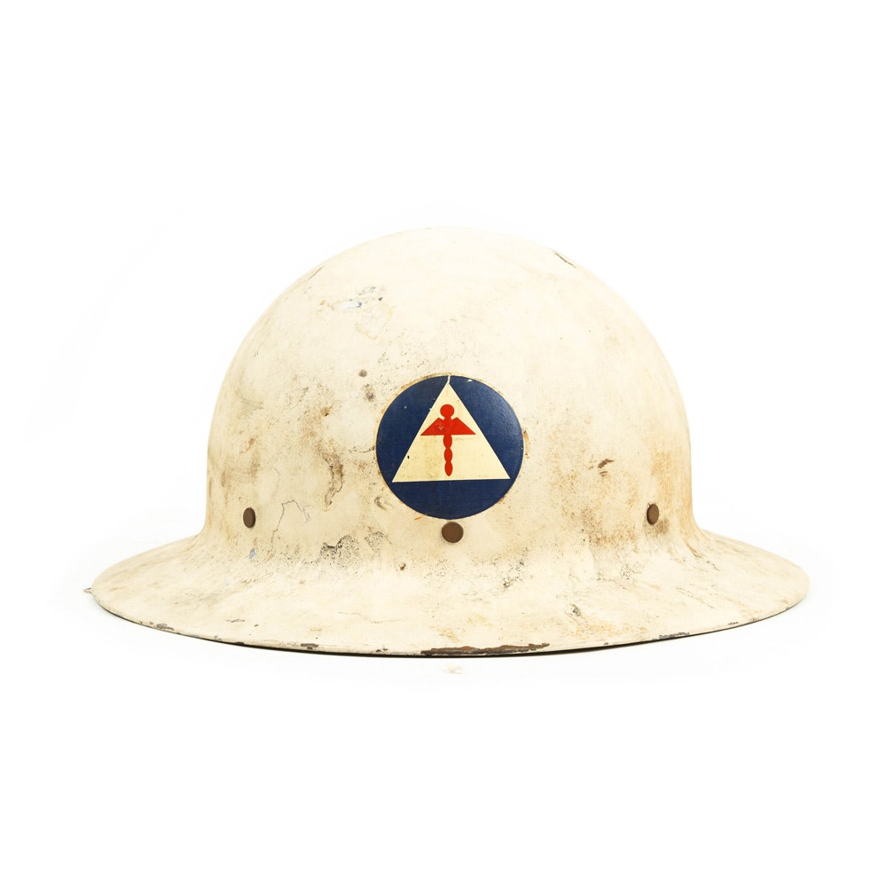 Rare World War II Civil Defense Medical Helmet