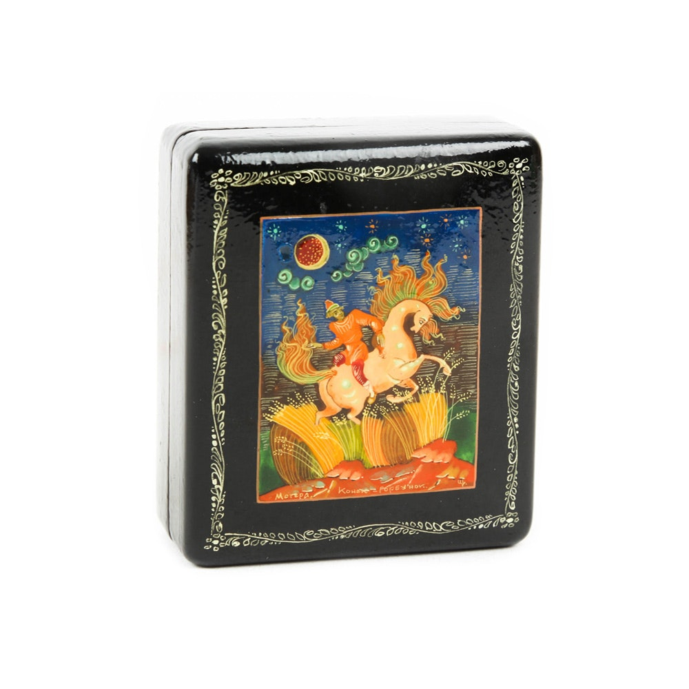 Vintage Lacquered Russian Trinket Box