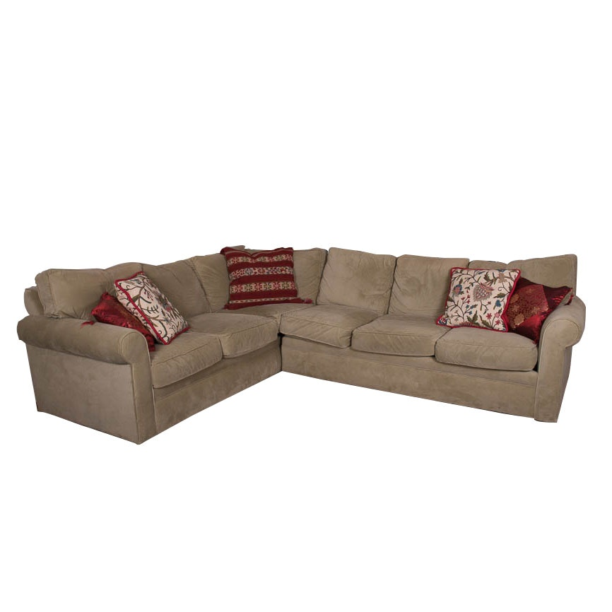 Rowe Furniture Sage Green Microsuede Sectional Sofa ...  sc 1 st  Everything But The House : sage green sectional - Sectionals, Sofas & Couches