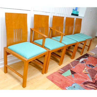 1980s Modern Wood Framed Dining Chairs by Next Interna Designs. Vintage Dining Furniture Auction   Antique Dining Furniture for