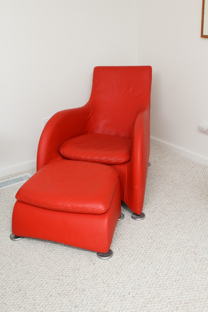 Etonnant Contemporary Modernist Red Leather Chair And Ottoman