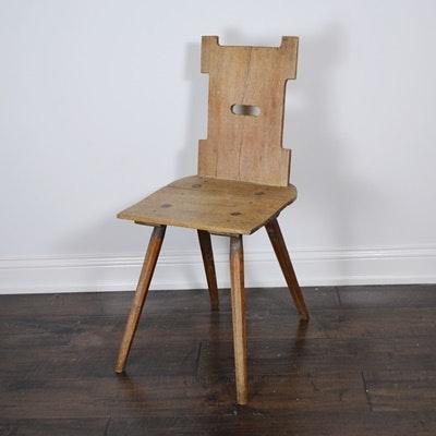 Early 20th Century Dutch Rustic Wood Chair