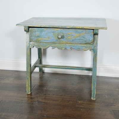 Late 19th Century French Blue Painted Side Table
