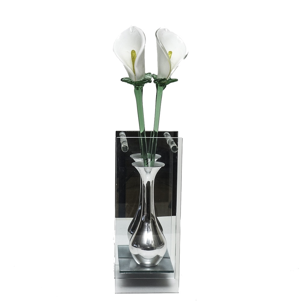 Pair of Blown Glass Calla Lilies  in Mirror, Glass and Metal Presentation