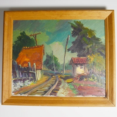 "Original ""La Sala de S. Pons, Manresa"" Oil Painting"