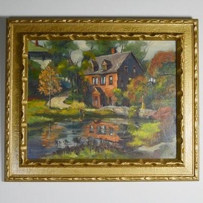 Vintage Belgian Original Landscape Oil Painting