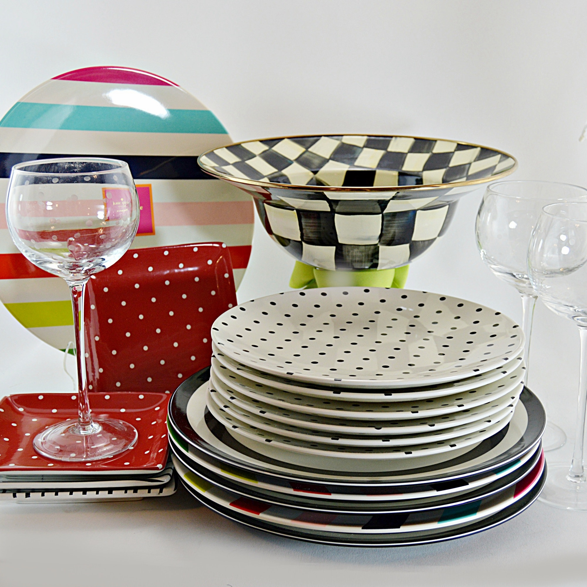 Kate Spade Dinnerware And Barware + Mackenzie Childs Compote ...