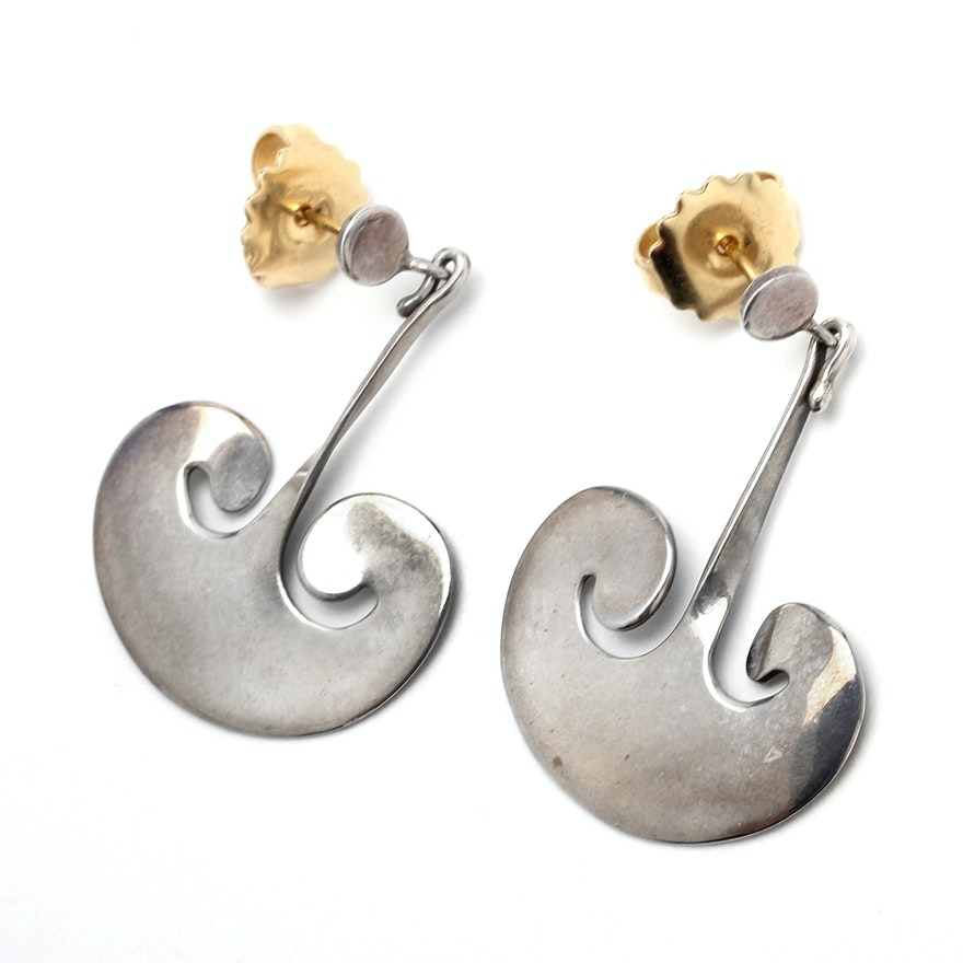 Vintage Torun Bulow Hube Sterling Earrings For Georg Jensen