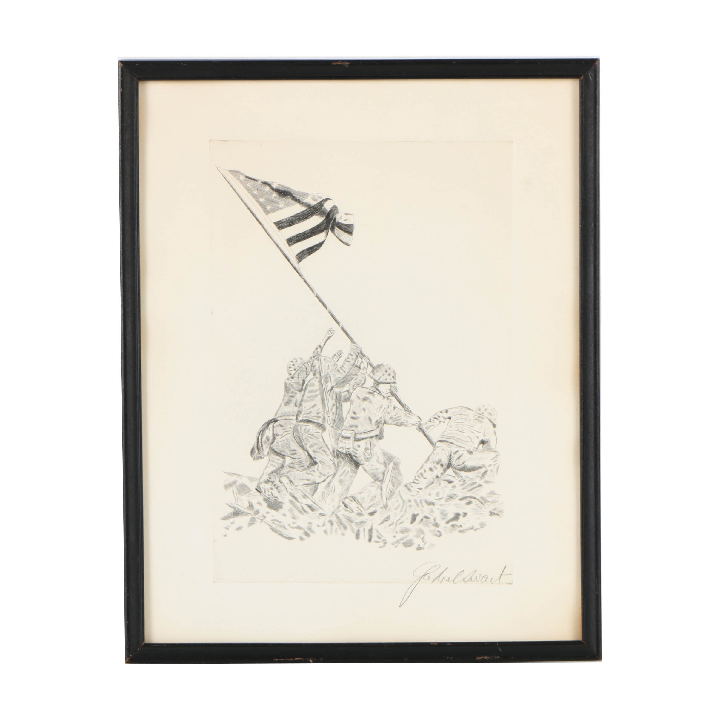 Gabriel Swart Engraving on Paper of Marines Raising Flat