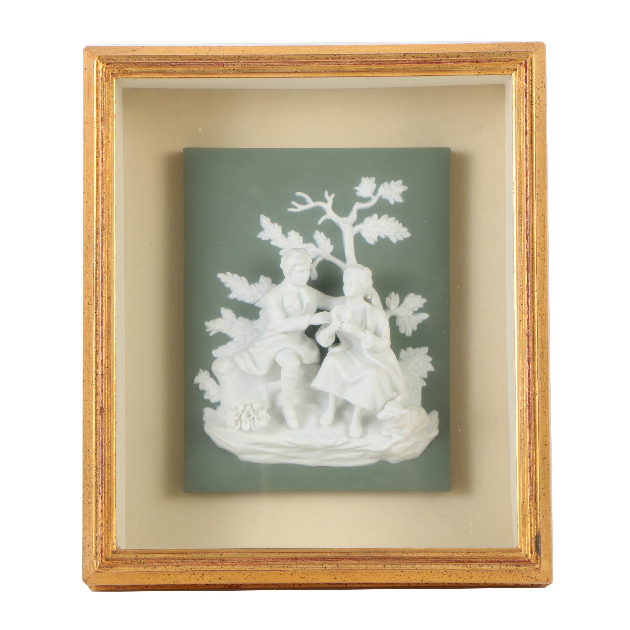 "Framed Jasperware ""Duet"" Sculptural Panel"