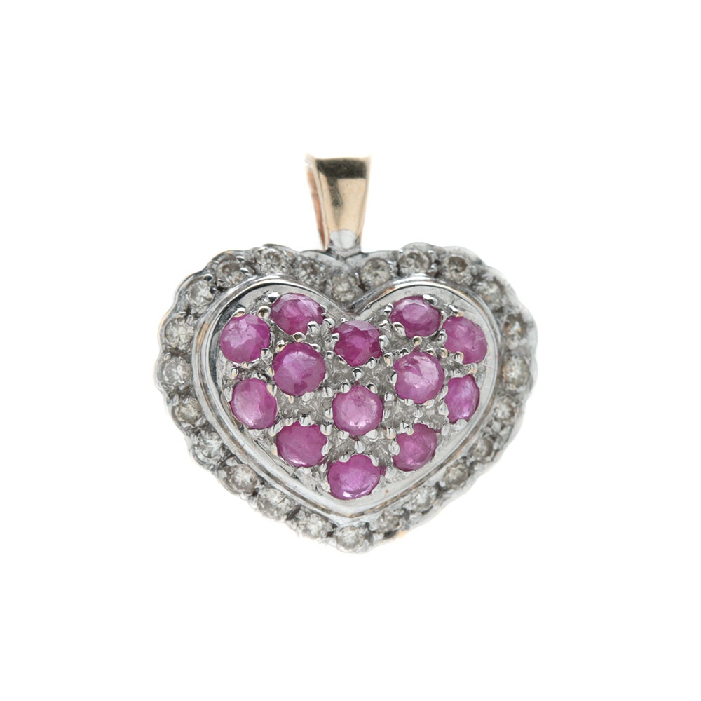 14K Two Tone Gold Ruby and Diamond Heart Pendant