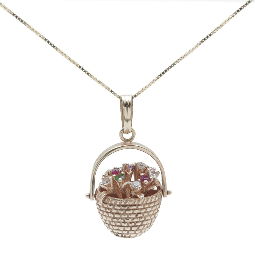14K Yellow Gold Box Chain Gemstone Pendant Necklace