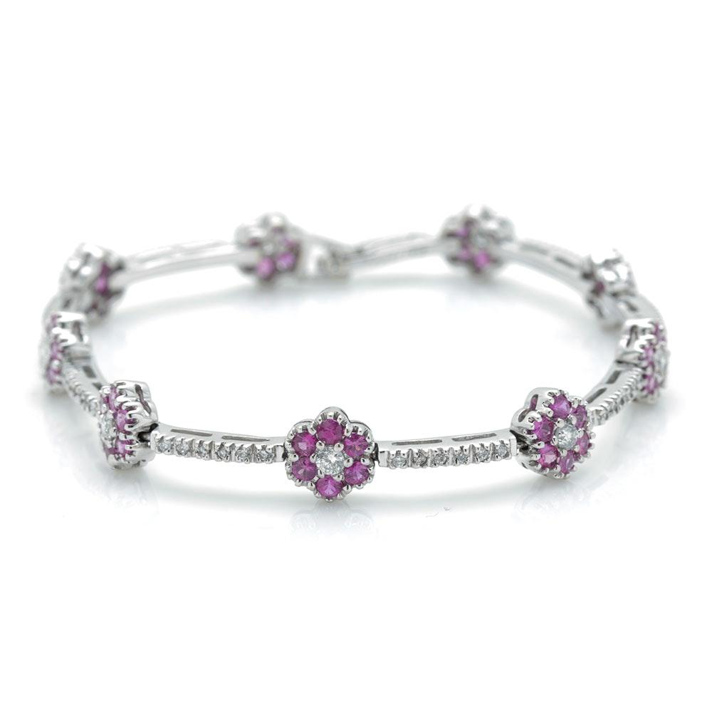 14K White Gold 1.26 CTW Diamond and Sapphire Flower Bracelet