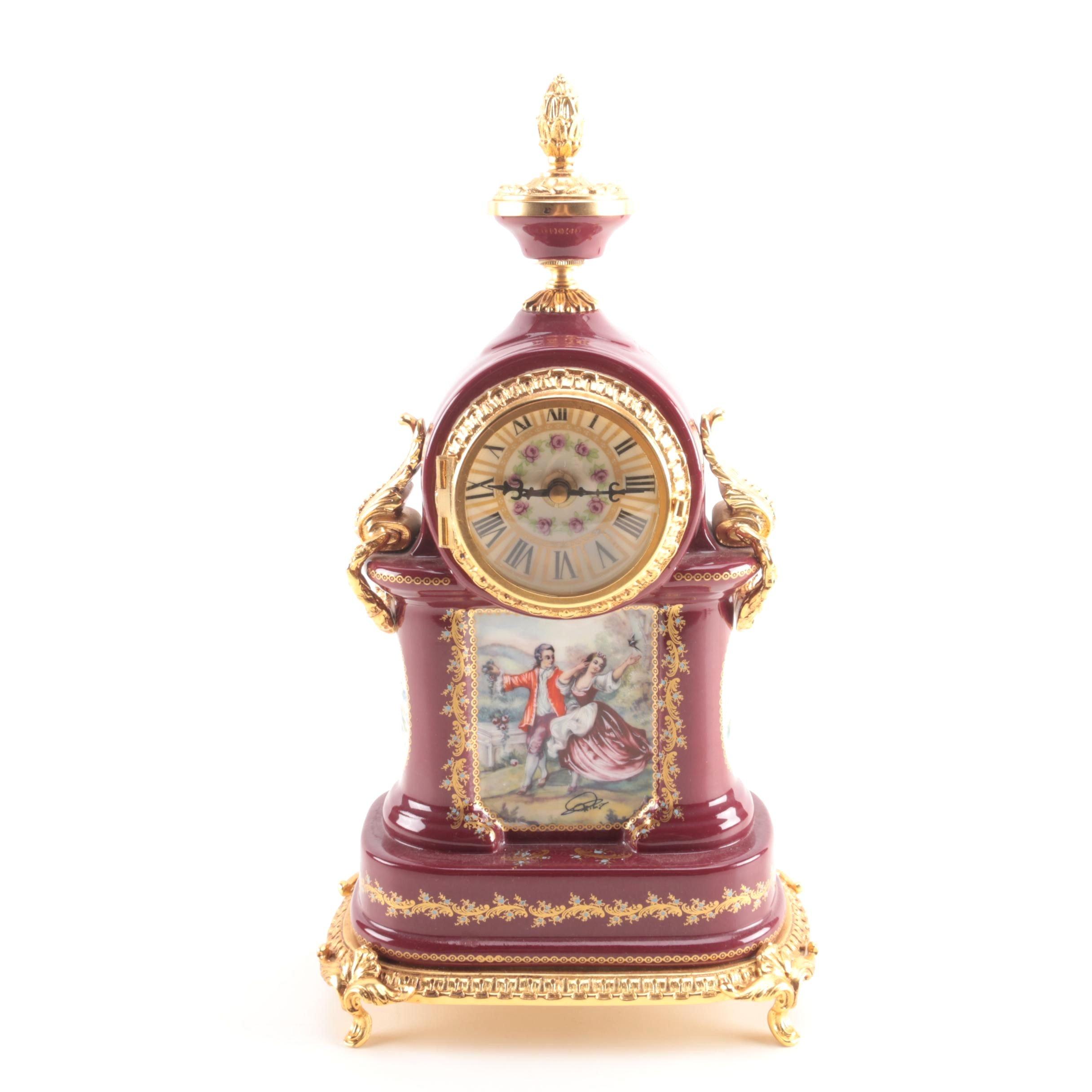 Decorative Purple and Gold Tone Ceramic Clock