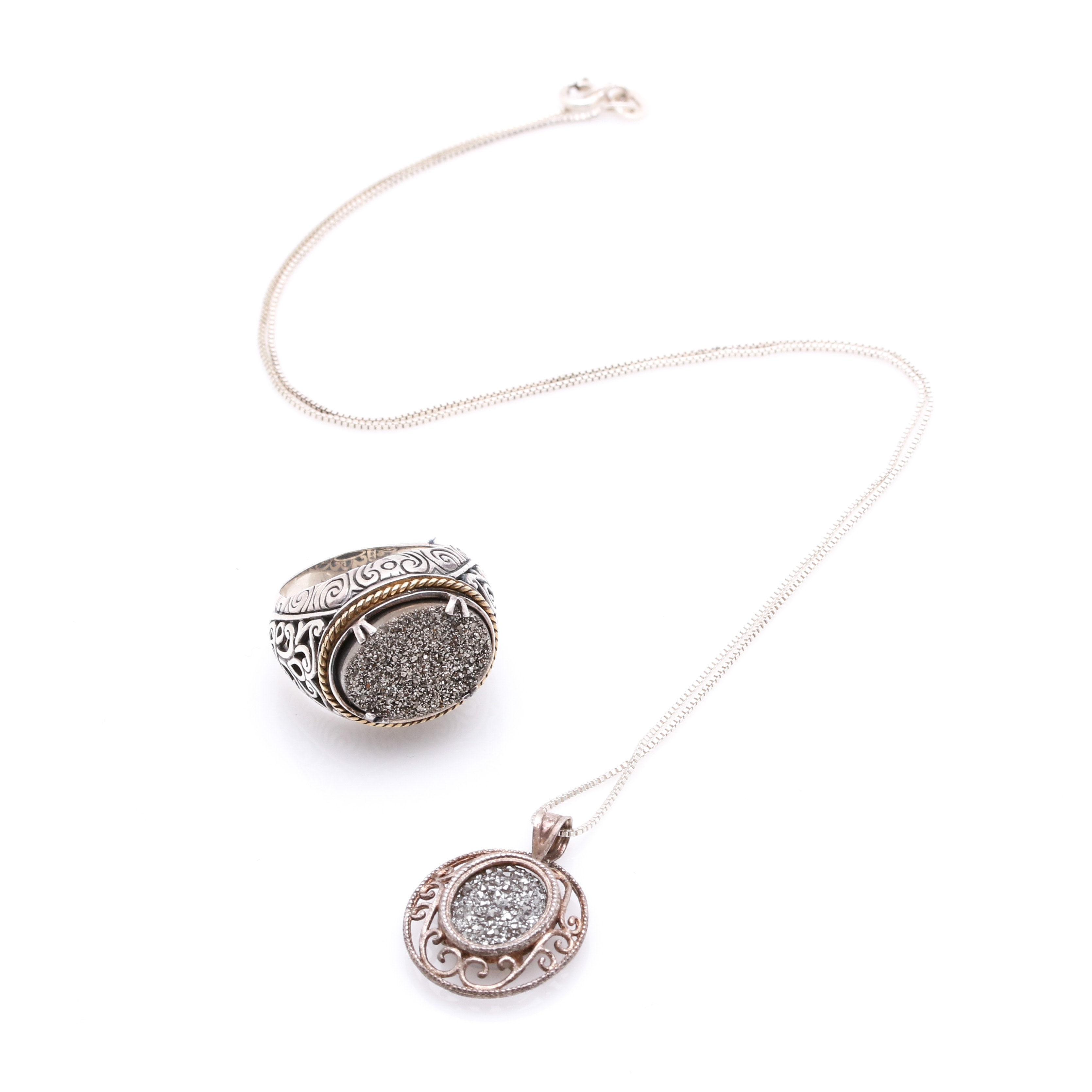 Sterling Silver Necklace and Ring With Coated Druzy Quartz