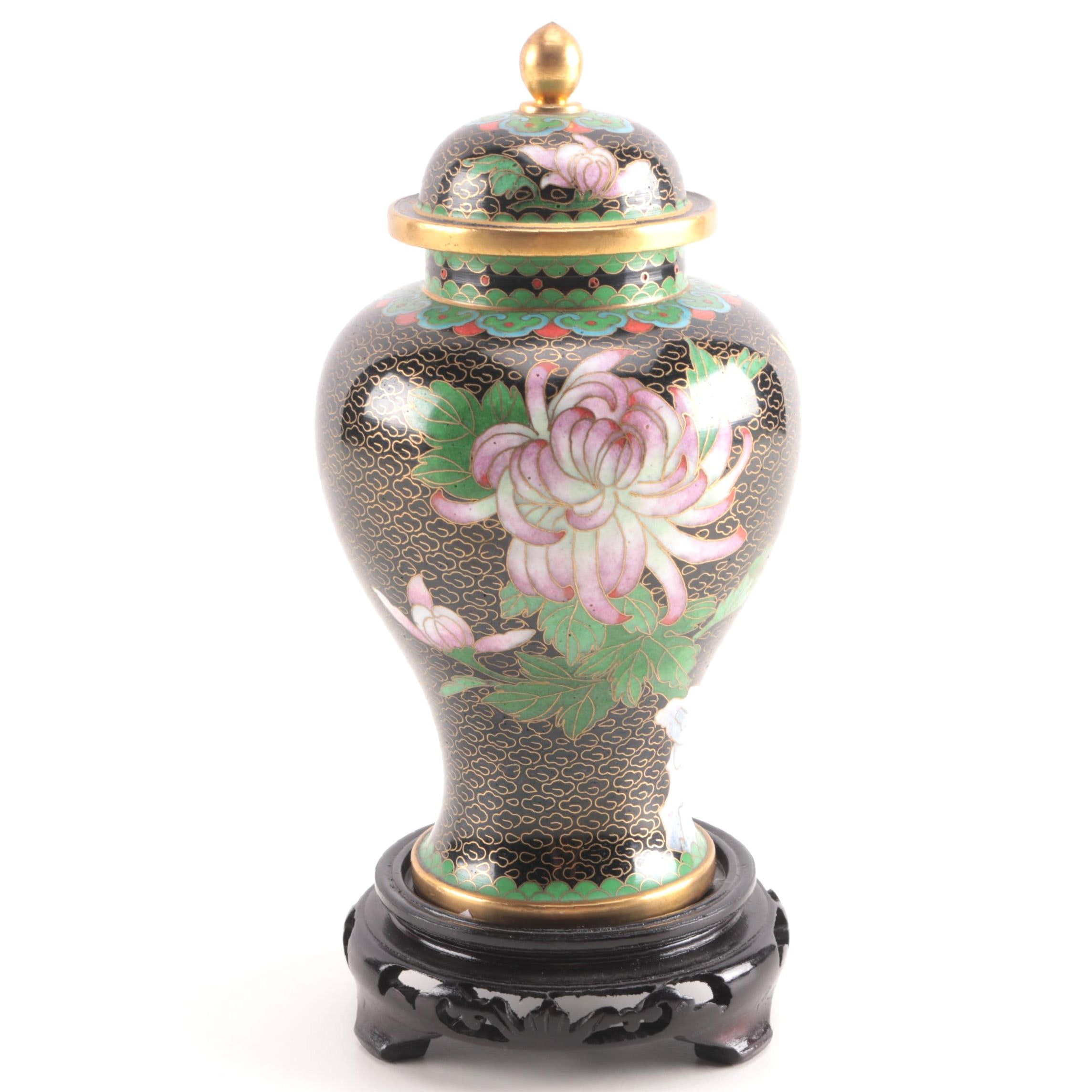 Jingfa Chinese Cloisonné Ginger Jar Vase With Wooden Stand