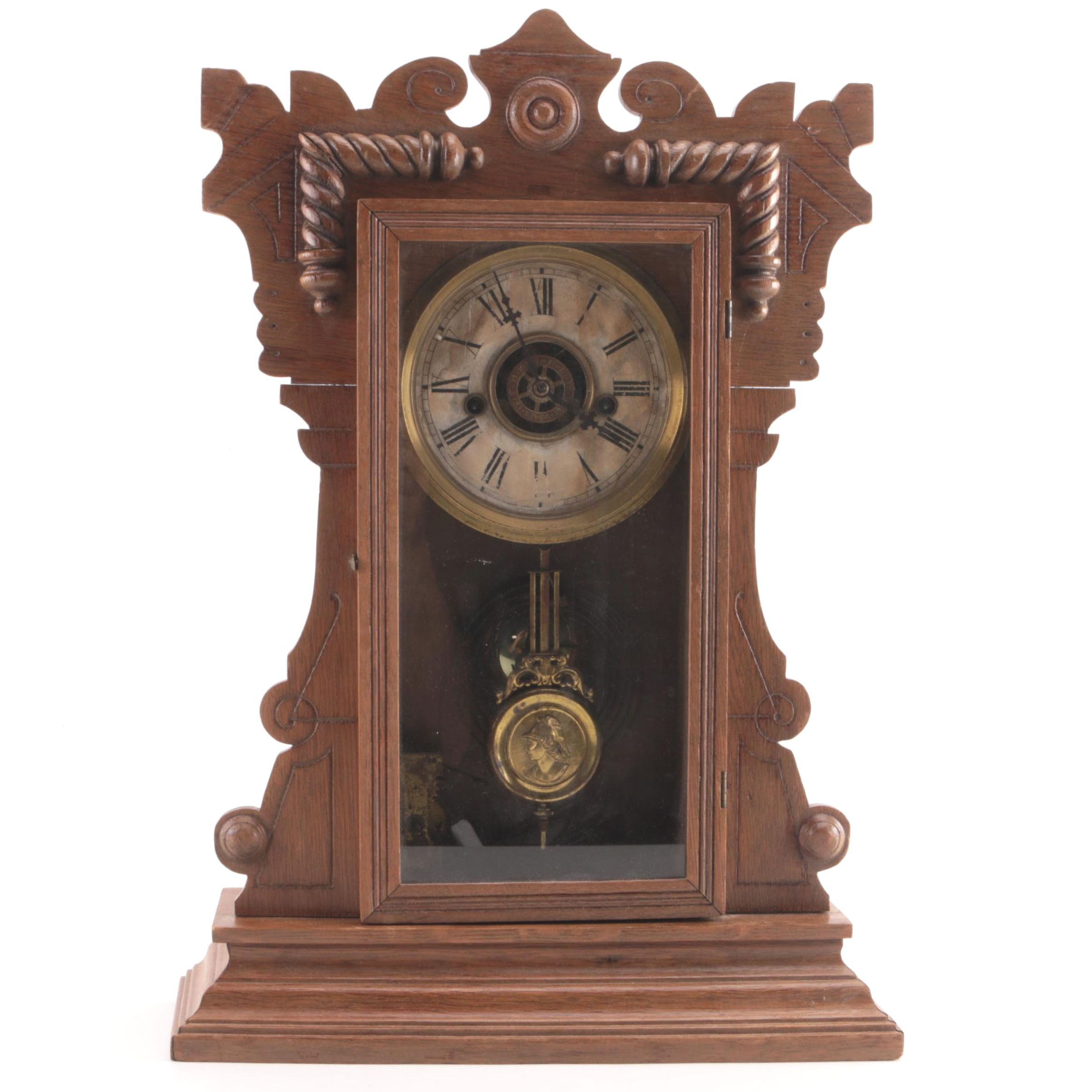 Antique Victorian Waterbury Pendulum Mantel Clock