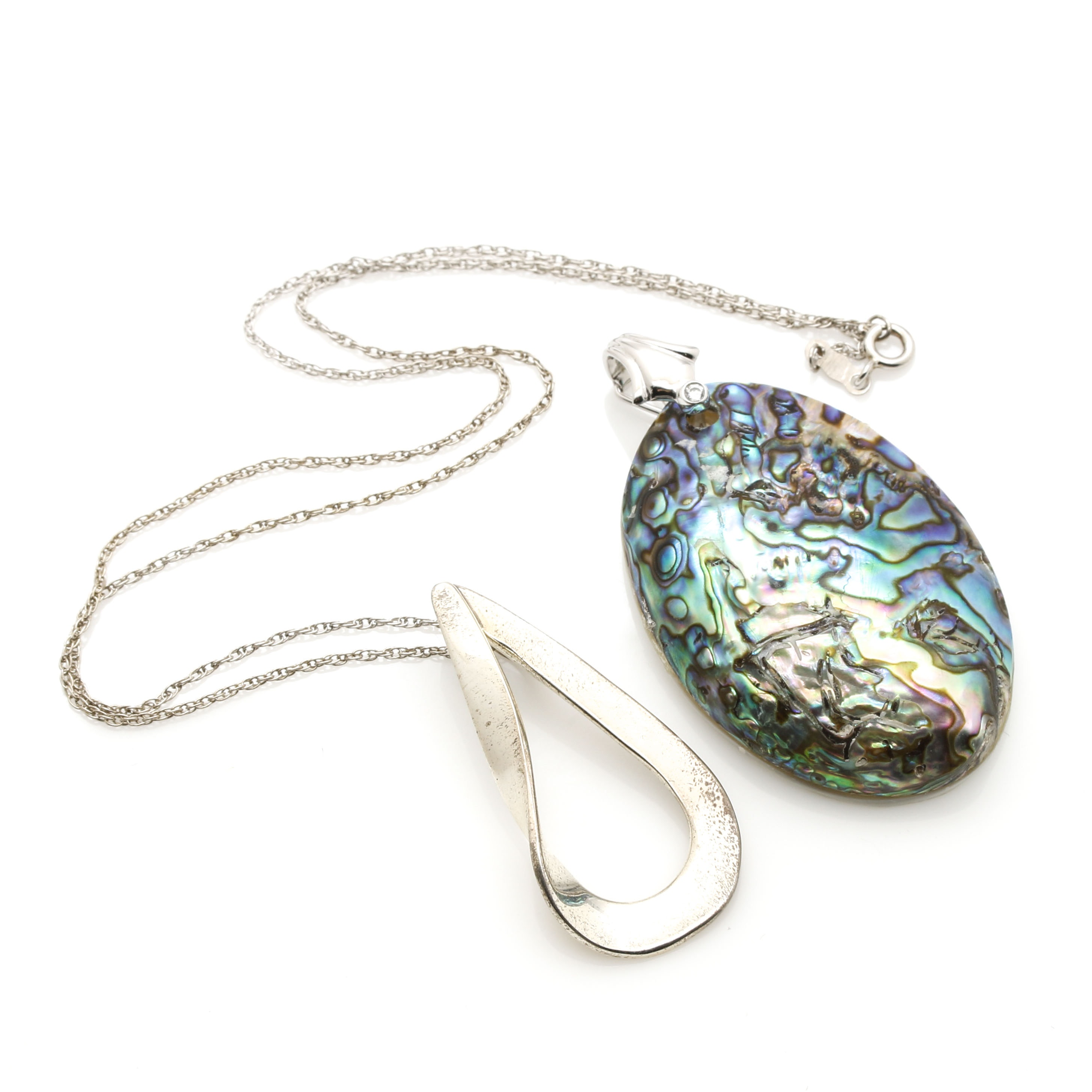 Sterling Silver Necklace and Pendant With Abalone