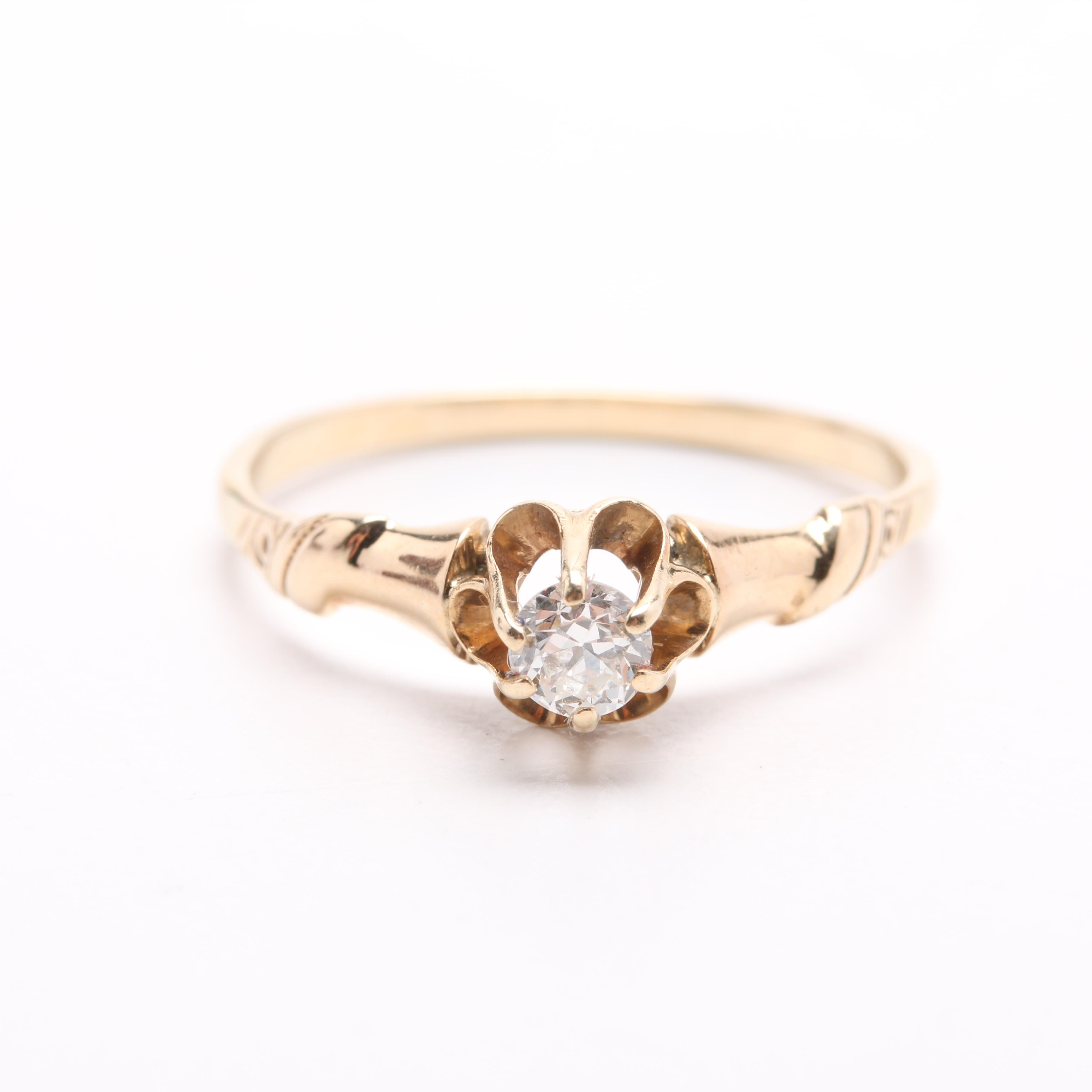 Victorian 14K Yellow Gold Diamond Solitaire Ring