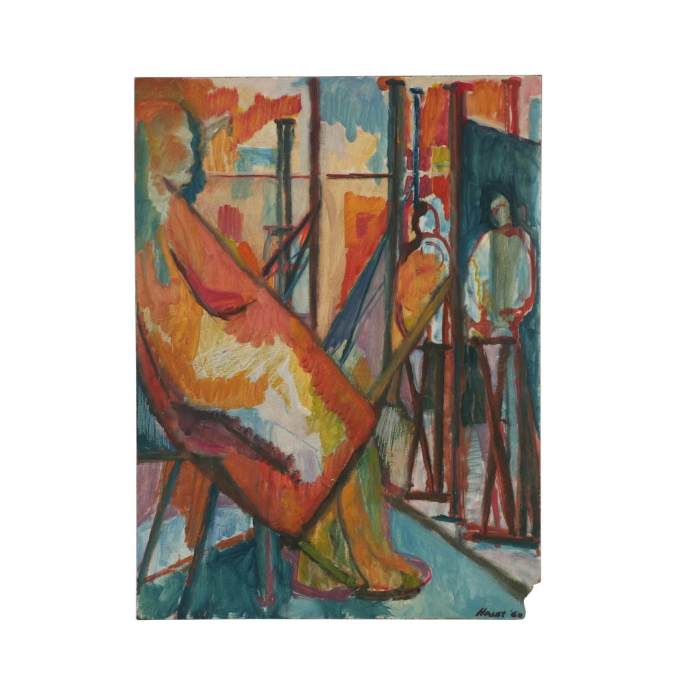 "Haley Oil Painting on Board ""Seated Nude, Students in Studio"""