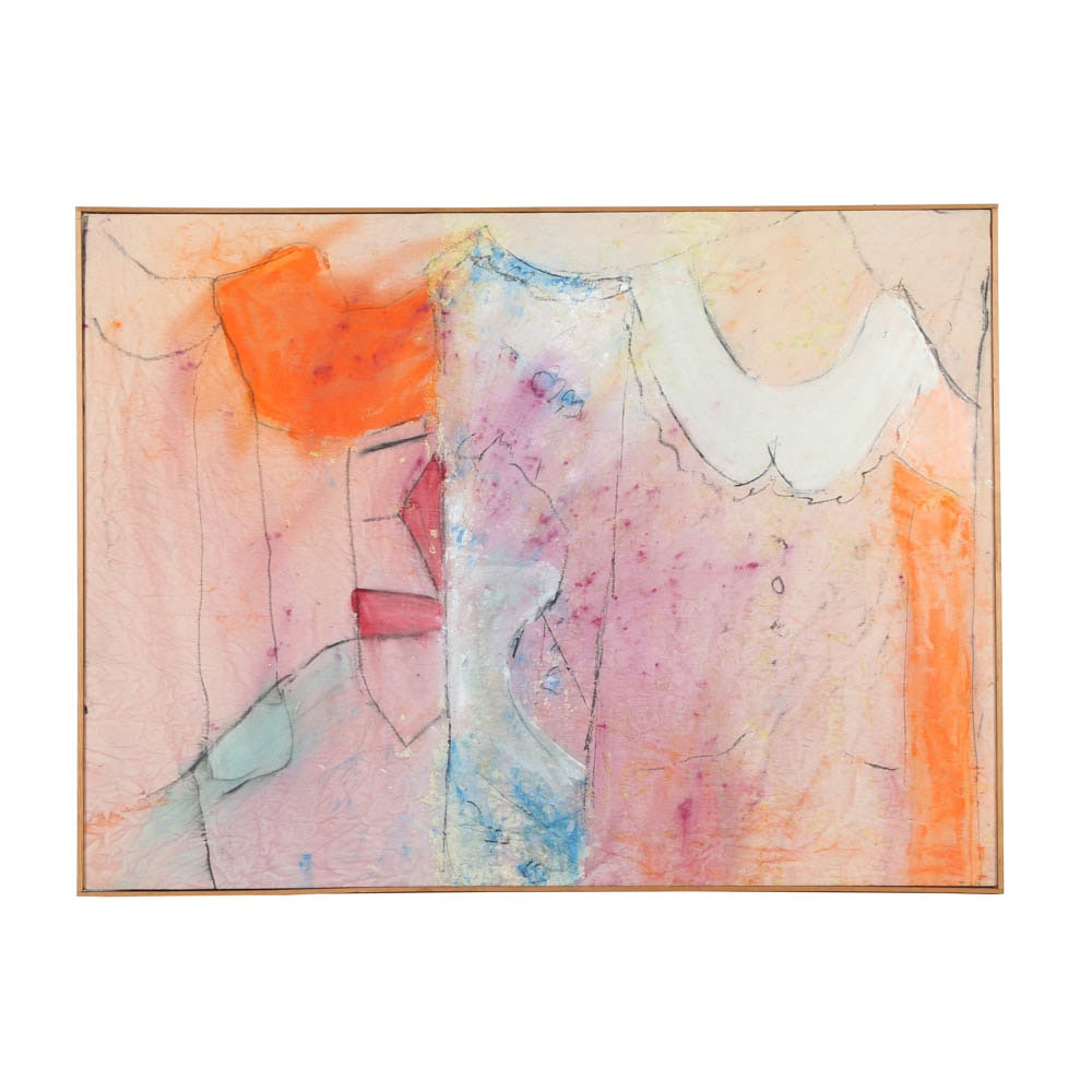 Framed Acrylic Painting of Hanging Clothes