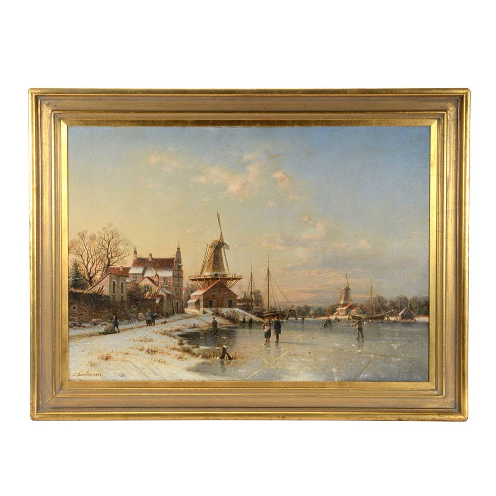 Johannes Duntze Original 1894 Dutch Landscape Oil on Canvas